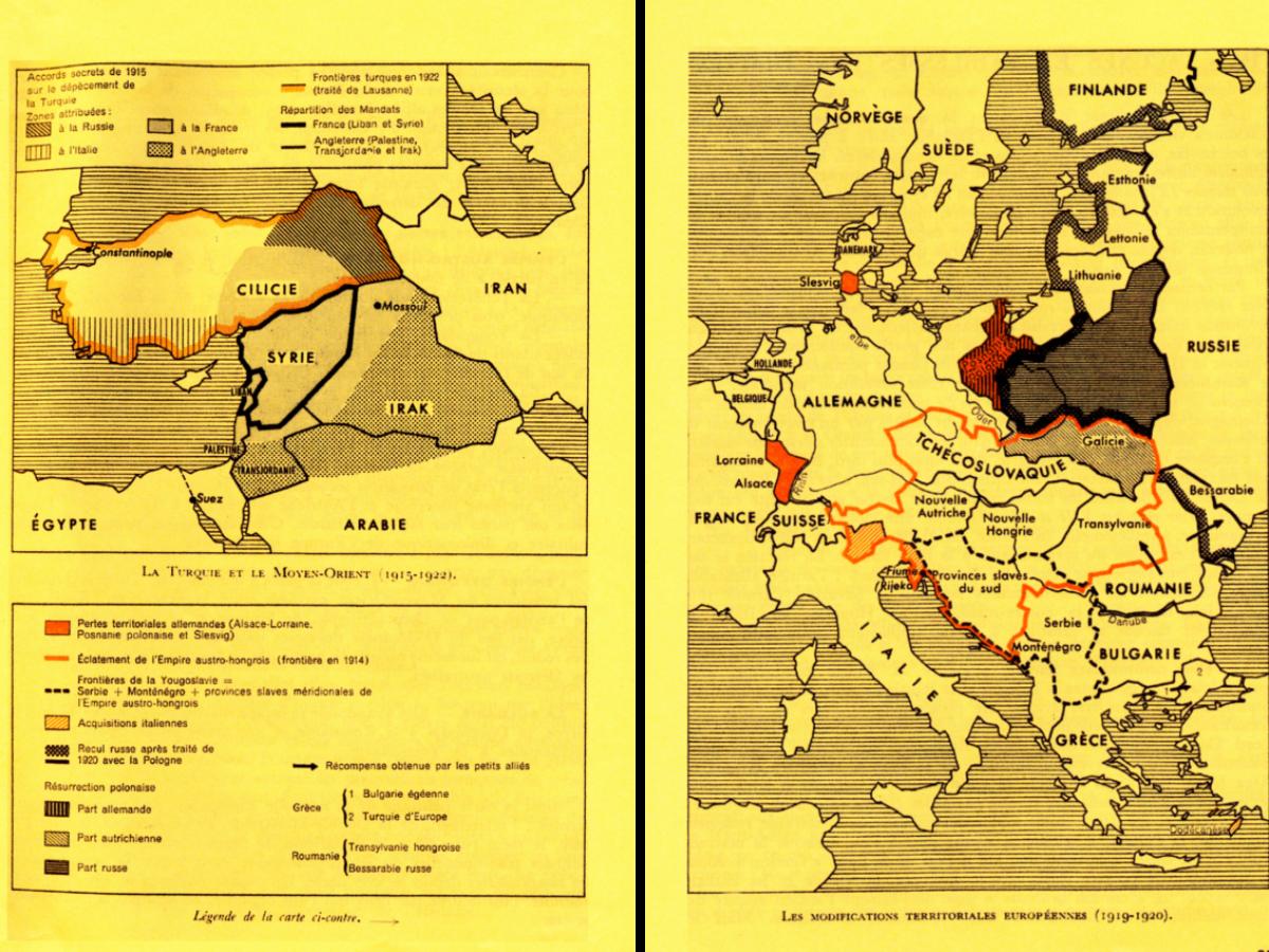 Les modifications territoriales européennes (1919-1920) et de la Turquie et du Moyen-Orient (1915-1922)