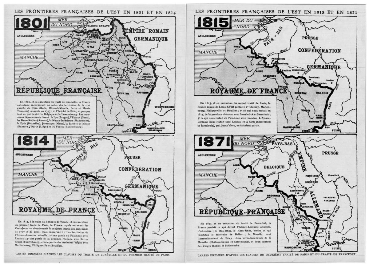 Les frontières françaises de l'est de 1801 à1871
