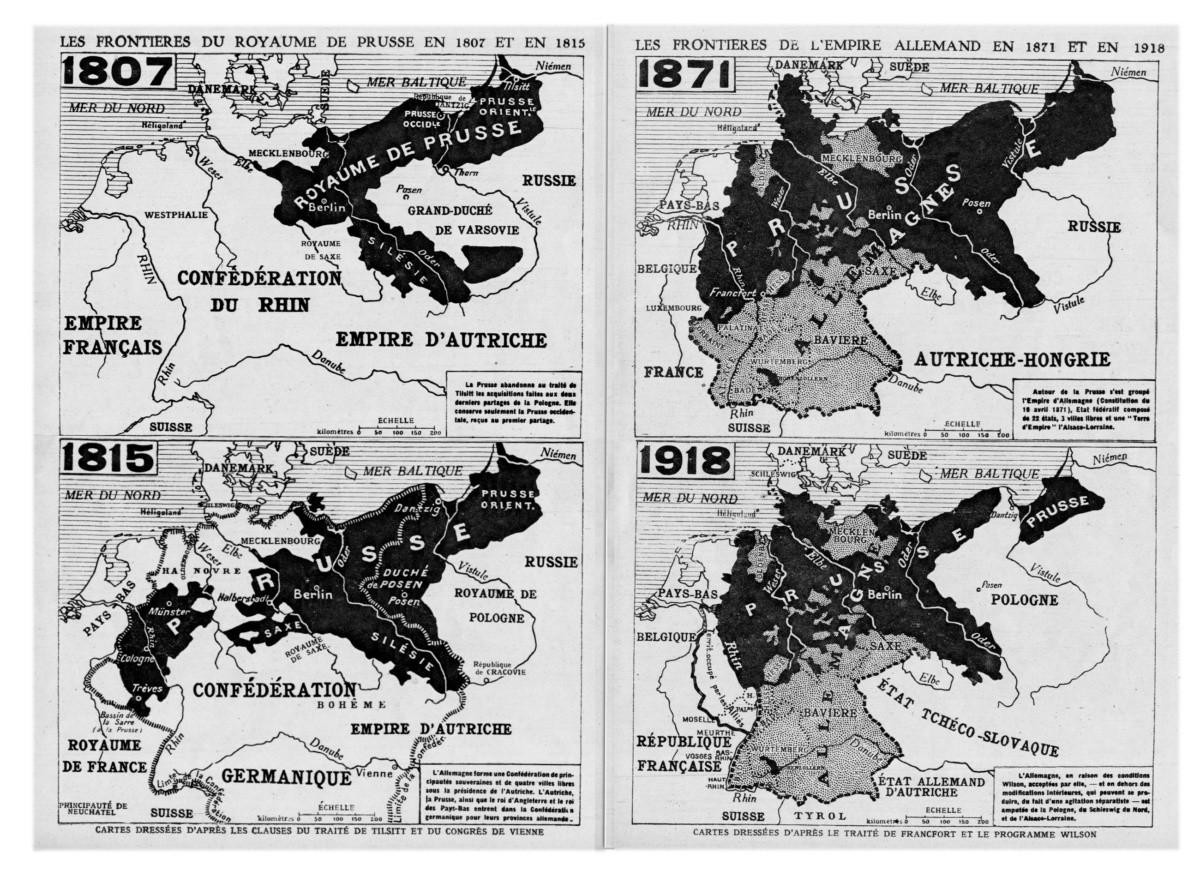Les frontières du Royaume de Prusse (1807-1815) et de l'Empire allemand (1871-1918)